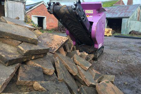 Crushing slabs with Purple Pulveriser 4000 micro crusher