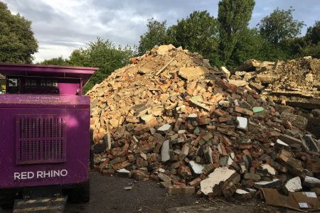 Purple Crusher, crushing mountains of rubble